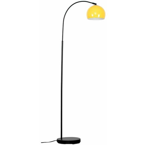 Curved Floor Lamp in Black with a Arco Metal Dome Light Shade - Green