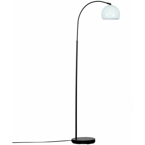Curved Floor Lamp in Black with a Arco Metal Dome Light Shade - Green - Black