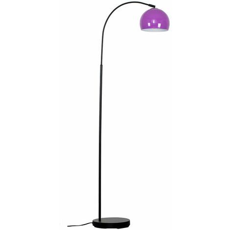 Curved Floor Lamp in Black with a Arco Metal Dome Light Shade - Pale Blue