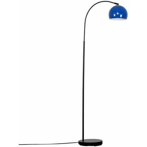 Curved Floor Lamp in Black with a Arco Metal Dome Light Shade - Pale Blue - Black