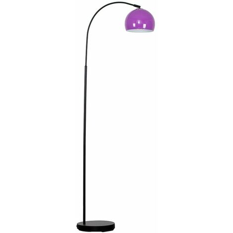 Curved Floor Lamp in Black with a Metal Dome Light Shade + 6W LED GLS Bulb - Chrome