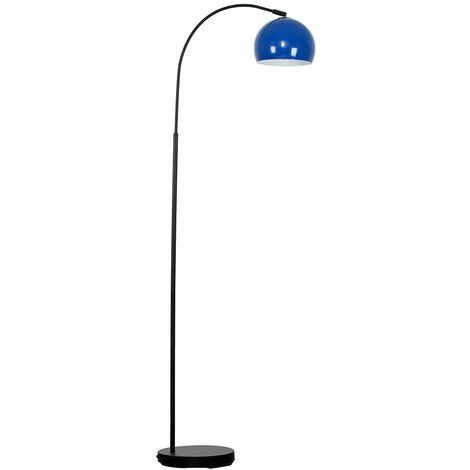 Curved Floor Lamp in Black with a Metal Dome Light Shade + 6W LED GLS Bulb - White - Black