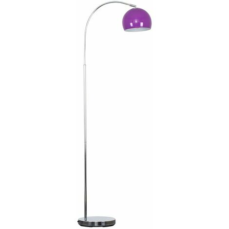 Curved Floor Lamp in Chrome with a Metal Dome Light Shade + 6W LED GLS Bulb - White