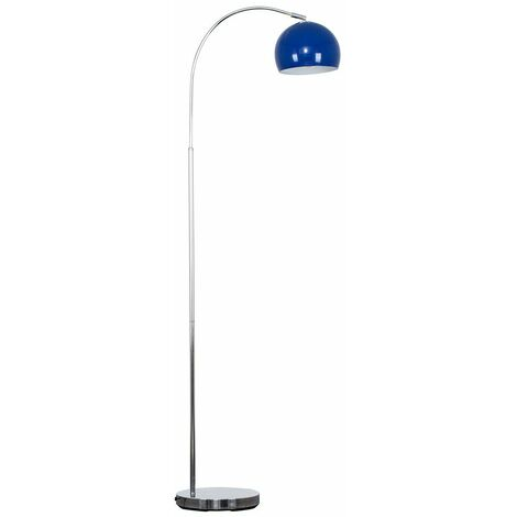 Curved Floor Lamp in Chrome with a Metal Dome Light Shade + 6W LED GLS Bulb - White - Silver