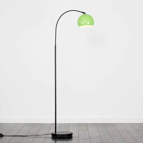 Curved Floor Lamp with a Arco Metal Dome Light Shade + 6W LED GLS Bulb