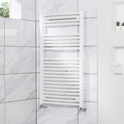 Curved Heated Towel Rail Radiator Bathroom Central Heating Ladder Warmer Rad 1100x600mm White