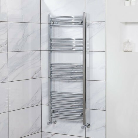 Curved Heated Towel Rail Radiator Bathroom Central Heating Ladder Warmer Rad 1200x500mm Chrome