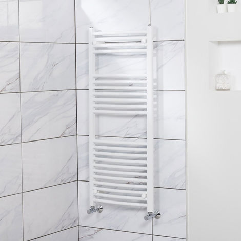 Curved Heated Towel Rail Radiator Bathroom Central Heating Ladder Warmer Rad 1200x500mm White
