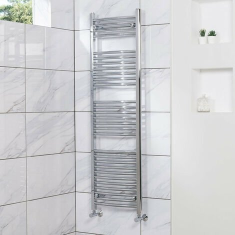 Curved Heated Towel Rail Radiator Bathroom Central Heating Ladder Warmer Rad 1500x450mm Chrome
