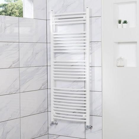 Curved Heated Towel Rail Radiator Bathroom Central Heating Ladder Warmer Rad 1500x600mm White