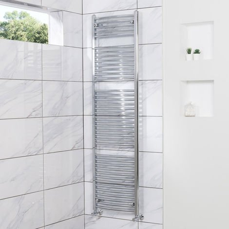 Curved Heated Towel Rail Radiator Bathroom Central Heating Ladder Warmer Rad 1800x500mm Chrome