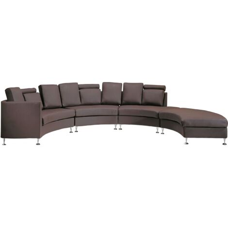"""main image of """"Curved Sectional Sofa with Ottoman and Headrests Brown Leather Rotunde"""""""