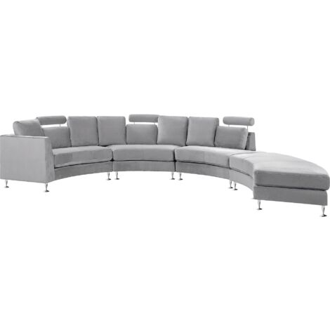 """main image of """"Curved Sectional Sofa with Ottoman and Headrests Velvet Light Grey Rotunde"""""""