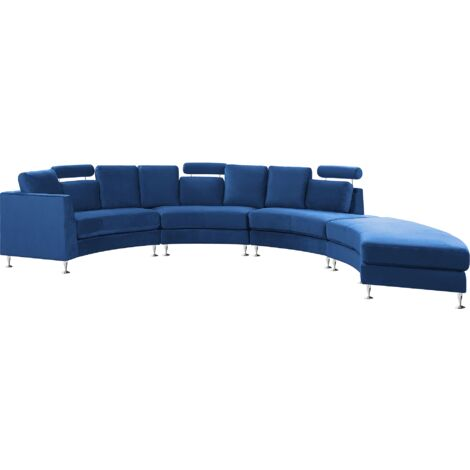 """main image of """"Curved Sectional Sofa with Ottoman and Headrests Velvet Navy Blue Rotunde"""""""
