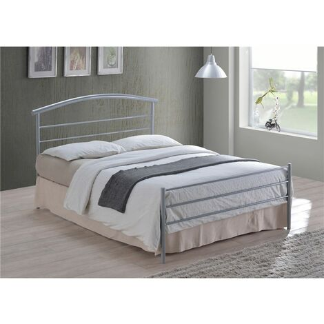Curved Silver Metal Bed Frame - Double 4ft 6""