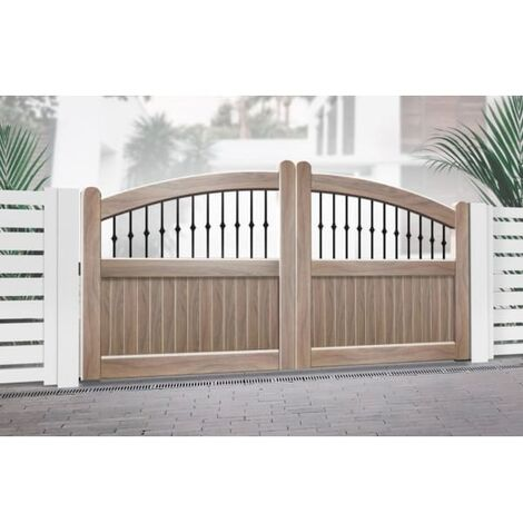 Curved Top with Mixed Infill Double Driveway Gate Wood Effect