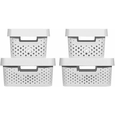 CURVER   Bacs de rangement INFINITY DOTS 2x(4,5L+11L) + Couvercles , blanc,