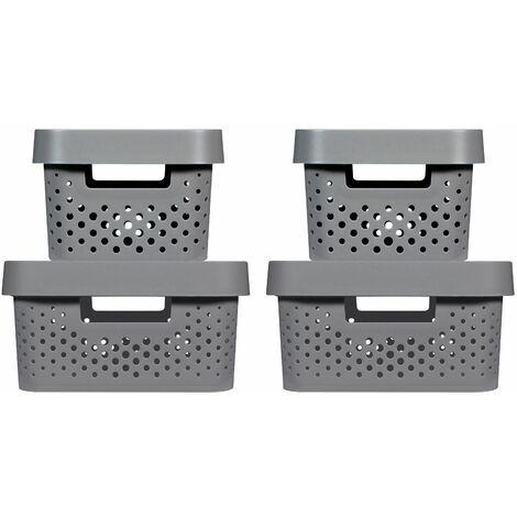 CURVER   Bacs de rangement INFINITY DOTS 2x(4,5L+11L) + Couvercles, marron, recyclés