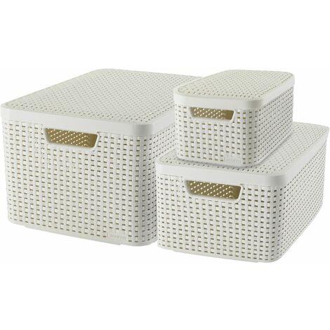 CURVER | Bacs de rangement STYLE L M S + couvercles, Blanc vintage