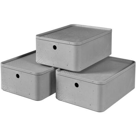 Curver Beton Storage Box Set 3 pcs with Lid Size M Light Grey
