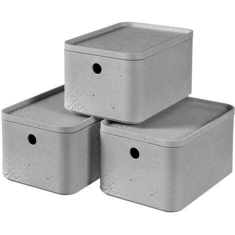 Curver Beton Storage Box Set 3 pcs with Lid Size S Light Grey - Grey