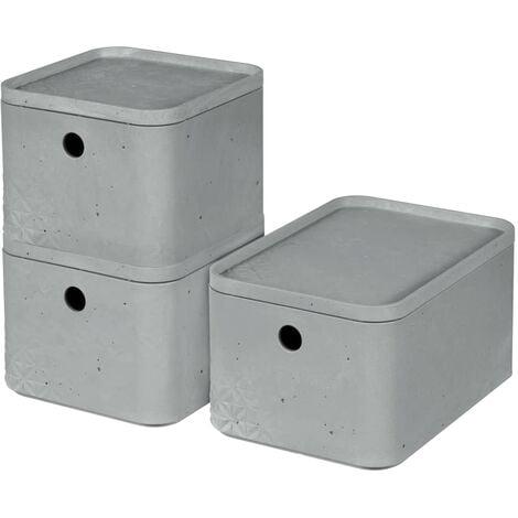 Curver Beton Storage Box Set 3 pcs with Lid Size S+M Light Grey