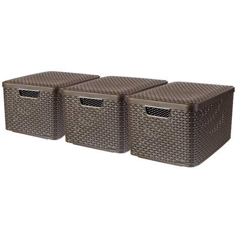 Curver Boîte de rangement Style avec couvercle 3 pcs L Marron 240651