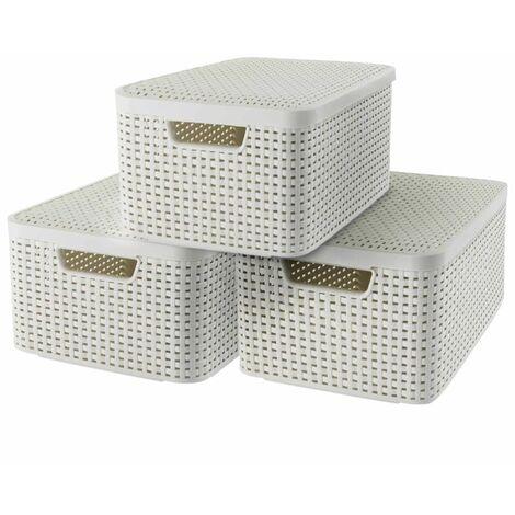 Curver Boîte de rangement Style avec couvercle 3 pcs M Blanc 240654
