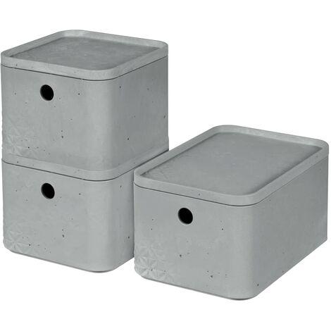 Curver Boîtes de rangement Beton avec couvercle 3 pcs S+M Gris clair