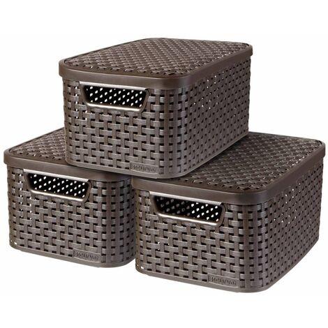 Curver Cajas de almacenaje con tapa Style 3 unidades S marrón 240646