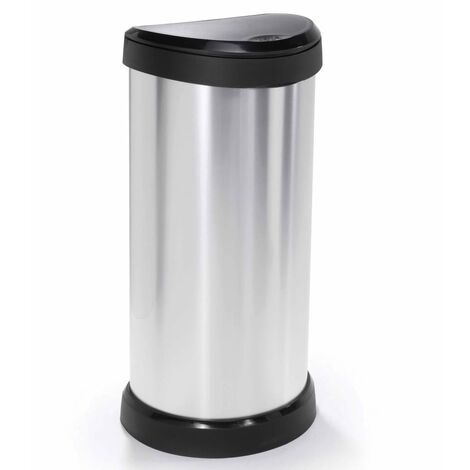Curver Deco Touch Top Bin 40L Silver