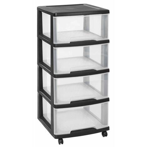 Curver Essentials Drawer Cabinet 80L Transparant and Black - Transparent