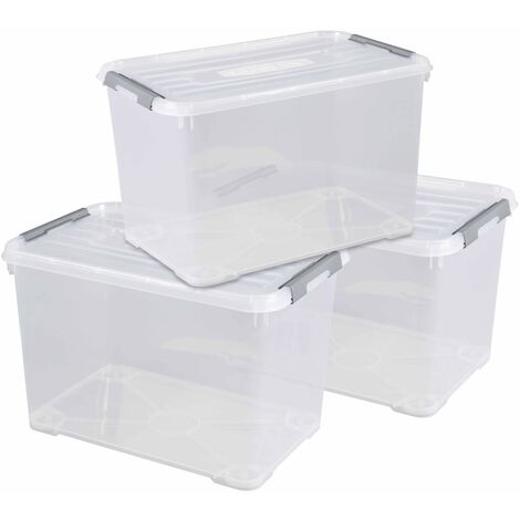 Curver Handy+ Storage Box Set 3 pcs with Lid 35L Transparant - Transparent