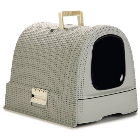 Curver Hooded Cat Litter Box 51x38.5x39.5 cm Grey - Grey