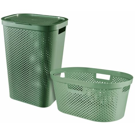 Curver Infinity 2 Piece Laundry Hamper and Basket Set 40L+60L Green