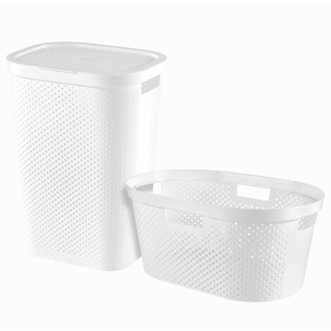 Curver Infinity 2 Piece Laundry Hamper and Basket Set 40L+60L White