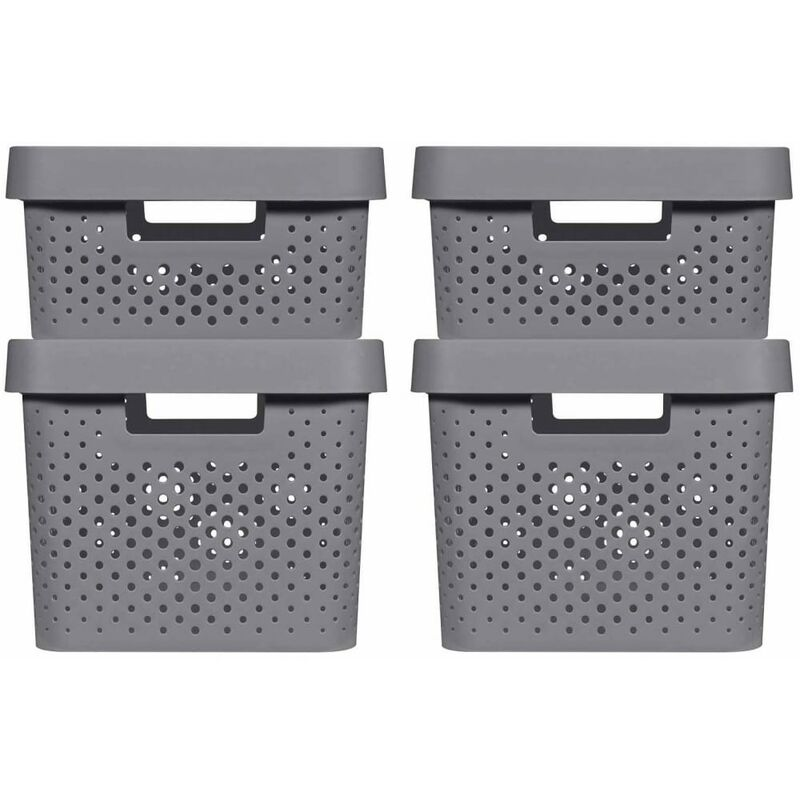 Image of Curver Infinity Storage Box Set 4 pcs with Lid 11L+17L Anthracite - Grey
