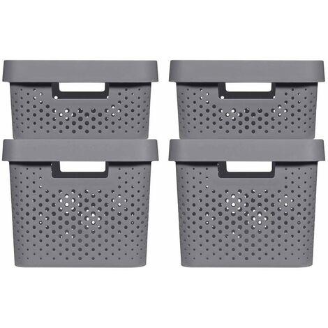 Curver Infinity Storage Box Set 4 pcs with Lid 11L+17L Anthracite - Grey