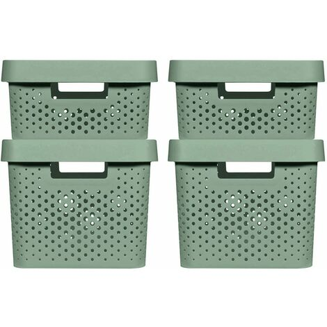 Curver Infinity Storage Box Set 4 pcs with Lid 11L+17L Green - Green