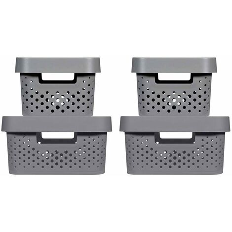 Curver Infinity Storage Box Set 4 pcs with Lid 4.5L+11L Anthracite - Grey