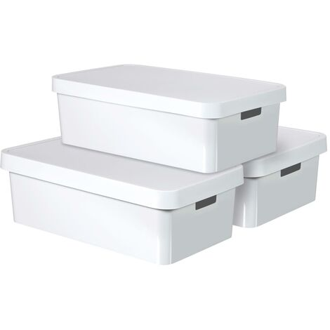 Curver Infinity Storage Box with Lid 3 pcs 30 L White 240671 - White