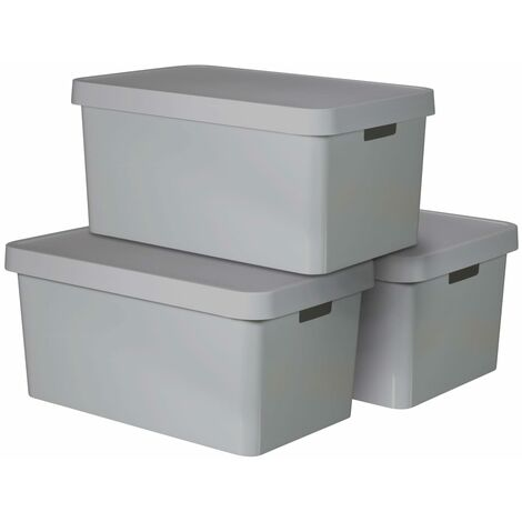 Curver Infinity Storage Box with Lid 3 pcs 45 L Grey 240659 - Grey