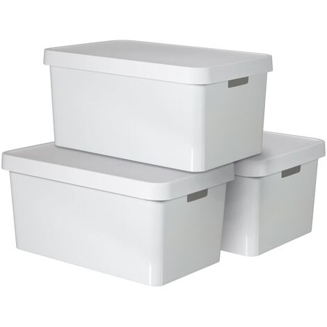 Curver Infinity Storage Box with Lid 3 pcs 45 L White 240683 - White