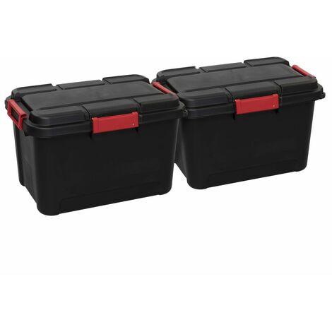 Curver Keter Boîtes de rangement Outback 2 pcs avec couvercle 60L Noir