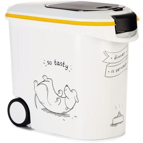 """main image of """"Curver Pet Food Container Dinner is Served Dog with Wheels 35L - White"""""""