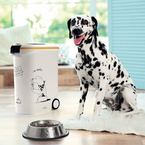 Curver Pet Food Container Dinner is Served Dog with Wheels 54L - White