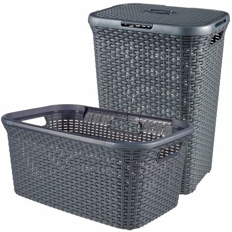 Curver Style 2 Piece Laundry Hamper and Basket Set 45L+60L Anthracite - Grey
