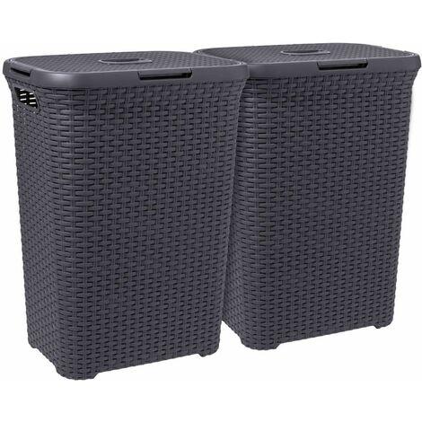 Curver Style Laundry Hamper Set 2 pcs 60L Anthracite