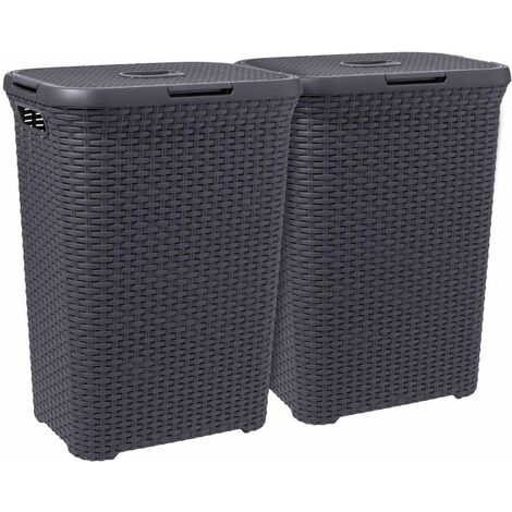 Curver Style Laundry Hamper Set 2 pcs 60L Anthracite - Grey