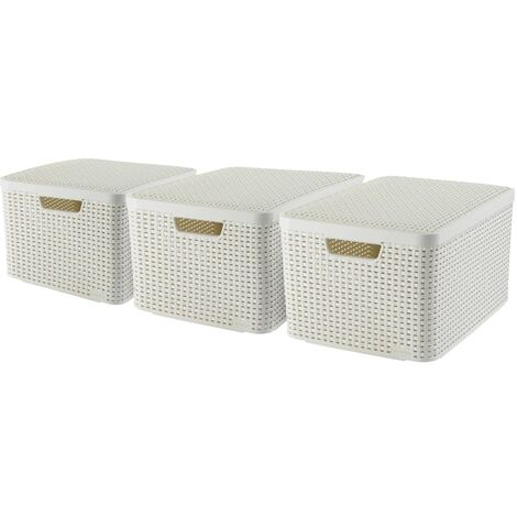 Curver Style Storage Box with Lid 3 pcs Size L White 240656 - White